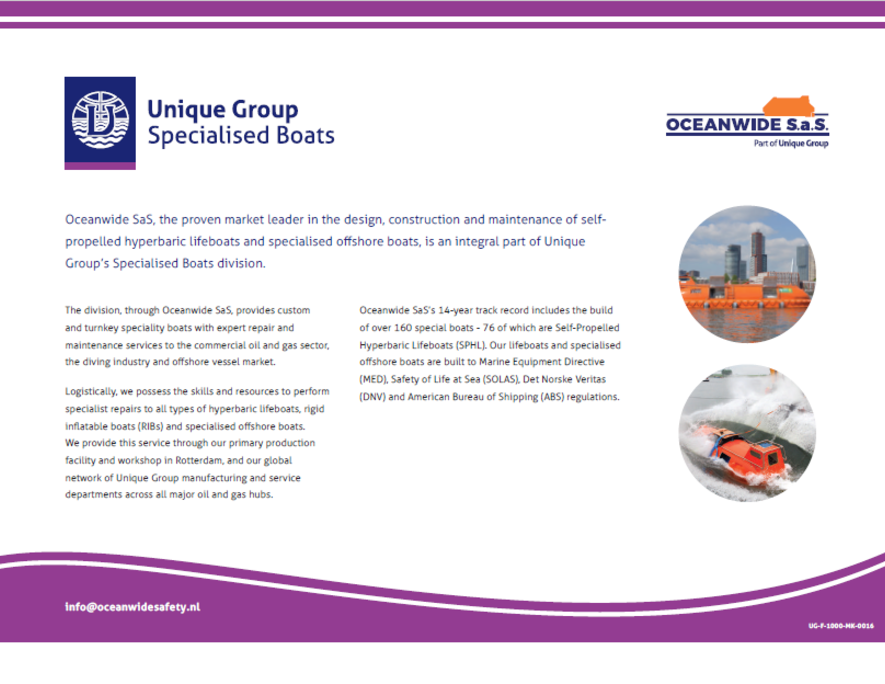 Specialised Boats | Davits | Oceanwide Davits | Unique Group