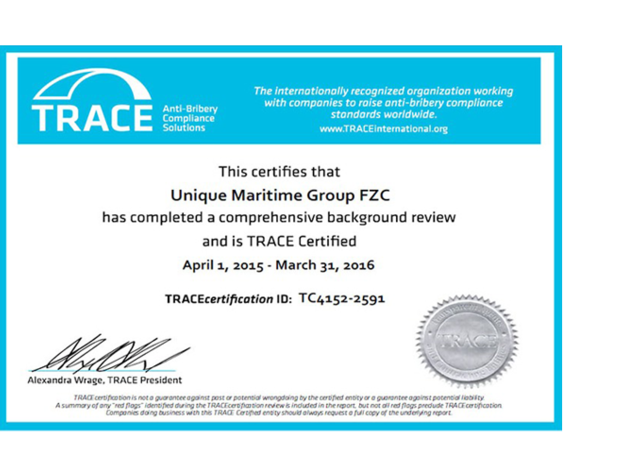 Unique Maritime Group FZC certified by TRACE