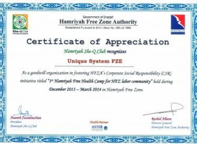 Certificate of appreciation for fostering hfza039s csr initiative unique system fze awarded a certificate of appreciation for fostering hfzas csr initiative yadclub Image collections