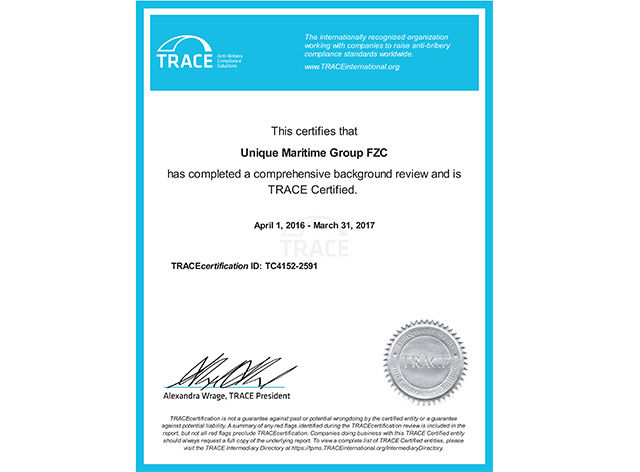 Unique Maritime Group FZC (a Unique Group Company) certified by TRACE