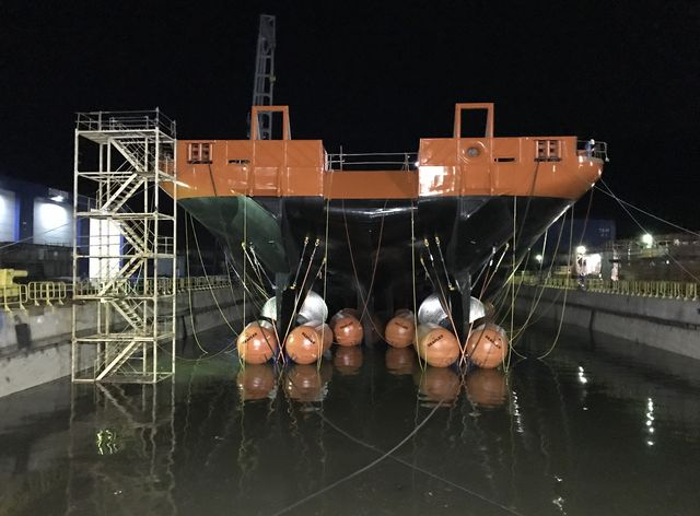 Inflatable Buoyancy Units facilitate float out at Damen Galati Shipyard