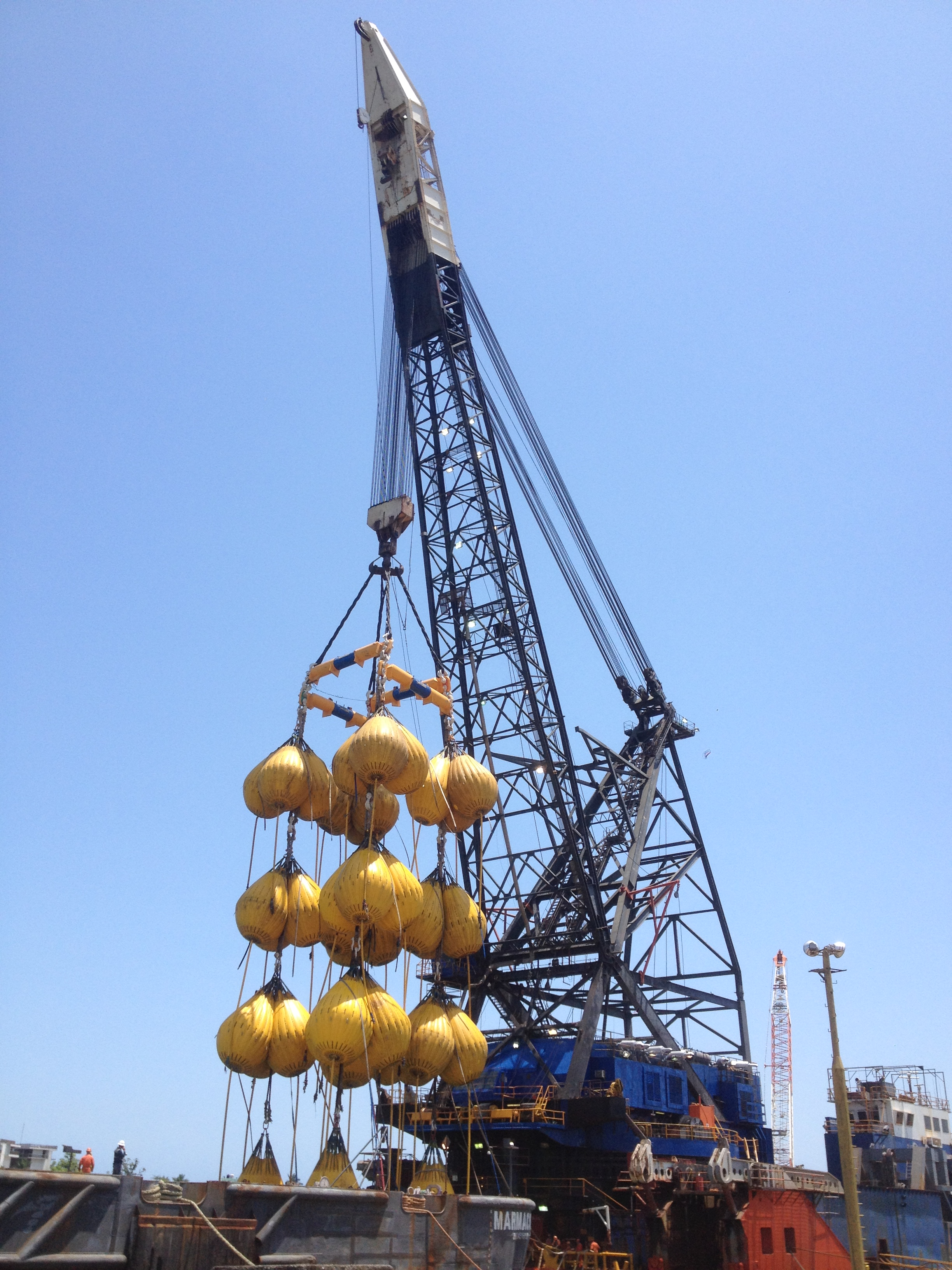 Proof load test underway on the crane